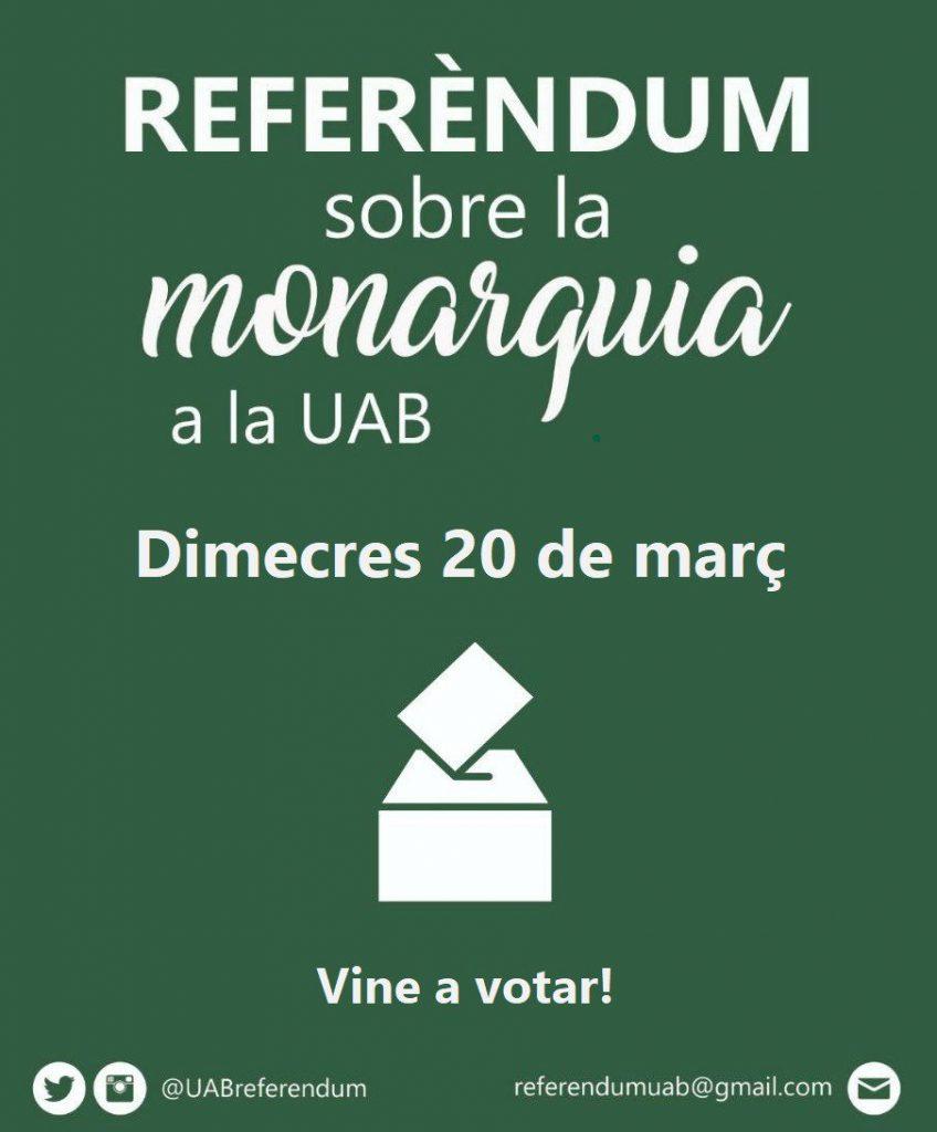 Crida a la participació al referèndum del 20 de març a la UAB sobre monarquia o república